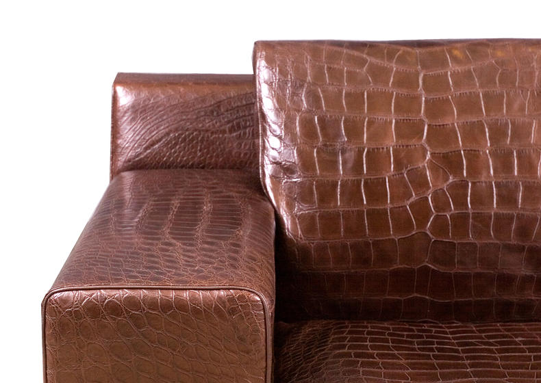 Brown Alligator Leather Sofa