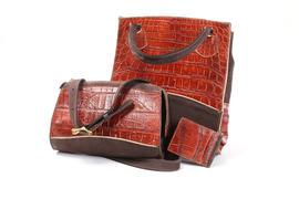 Brown Alligator Purse And Handbag